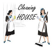 Cleaning service sign. Retro style illustration. Cleaning service. Women, cleaning room. Vector illustration of a maids cleaning the room. Retro Clip Art Stock Photos