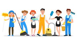 Cleaning service staff smiling cartoon characters isolated on white background. Men and women dressed in uniform vector. Illustration in a flat style. Cute and vector illustration