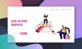 Cleaning Service Team in Airport Landing Page. Man Washer Clean Slippery Floor. Cleaner in Lift Ladder Work in Uniform. People Mopping Website or Web Page royalty free illustration
