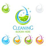 Cleaning Home Service vector Logo design, Eco Friendly with shiny broom and circle Concept. Cleaning Service vector Logo design Royalty Free Stock Photos