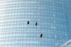Cleaning service of the Unicredit Tower in Milan, Italy. royalty free stock photos