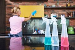 Cleaning service. woman clean kitchen Royalty Free Stock Photos