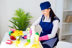 Cleaning service woman Stock Image