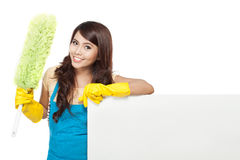 Cleaning service woman presenting blank board Stock Images