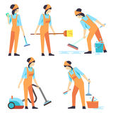 Cleaning service woman staff - cleaning staff of woman flat design Stock Photos