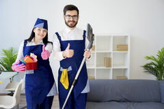 Cleaning service workers Royalty Free Stock Photo