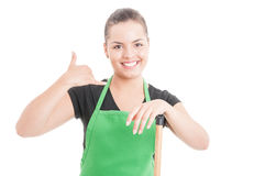 Cleaning services concept with beautiful young girl royalty free stock photos