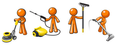 Free Cleaning Services Team Of Janitorial Professionals Royalty Free Stock Photos - 27731728
