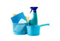 Cleaning set. Household cleaning equipment isolated on a white background royalty free stock photo