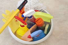 Cleaning set. Cleaning kit for cleaner on the floor Stock Photography