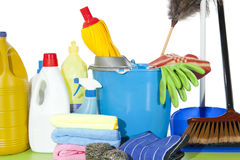 Cleaning set. Set of cleaning fluids and disinfectants to clean kitchenware Royalty Free Stock Photography