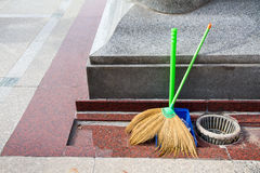 Cleaning set - broom and dust pan Royalty Free Stock Photo