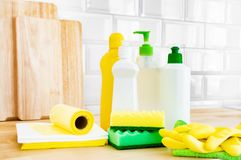 Cleaning set for different surfaces. Cleaning products or home cleaning concept. Cleaning set for different surfaces in kitchen, bathroom and other rooms on royalty free stock images