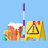 Cleaning set in flat style Royalty Free Stock Photos