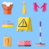 Cleaning set in flat style. Cleaning set. MOP, sponge, red plastic bucket, cleaning products in bottle for floor and glass, yellow sign reminder of wet floor Royalty Free Stock Images