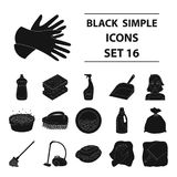 Cleaning set icons in black style. Big collection of cleaning vector symbol stock illustration Royalty Free Stock Photography