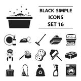 Cleaning set icons in black style. Big collection cleaning vector symbol stock illustration Stock Images