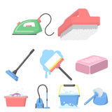 Cleaning set icons in cartoon style. Big collection of cleaning vector symbol stock illustration Royalty Free Stock Photo