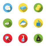 Cleaning set icons in flat style. Big collection of cleaning vector symbol stock illustration Royalty Free Stock Images