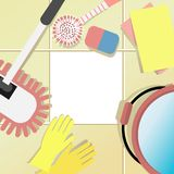 Housecleaning background with cleaning set Royalty Free Stock Photo