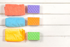 Cleaning.A set of wipes, sponges, buckets for clea Stock Photo