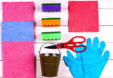 Cleaning.A set of wipes, sponges, buckets for cleaning. Top view stock photos