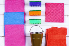 Cleaning.A set of wipes, sponges, buckets for cleaning. Top view royalty free stock photos