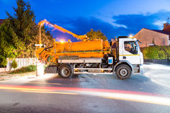 Cleaning sewage vehicle Royalty Free Stock Images
