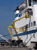 Cleaning the ship. Workers clean the cruise ship Royalty Free Stock Photo