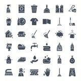 Cleaning sieci Stałe ikony Zdjęcia Stock