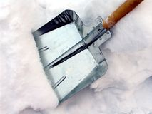 Cleaning snow. With a shovel Stock Photos