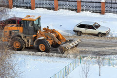 Cleaning of snow by means of special equipment. Stock Image