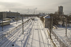 Cleaning snow from the railway tracks Central station Royalty Free Stock Photos