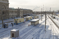 Cleaning snow from the railway tracks Central station Royalty Free Stock Image