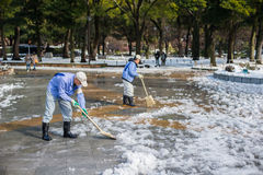 Cleaning the snow,Yokohama, Japan Stock Photography