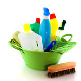 Cleaning with soap and brushes Royalty Free Stock Images