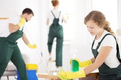 Cleaning specialist using detergent. Cleaning specialist wiping the table using green detergent and cloth stock image