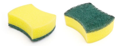 Cleaning sponge. Double side cleaning sponge on white Royalty Free Stock Images