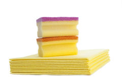 Cleaning sponge and cloths Stock Photography
