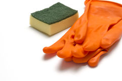 Cleaning sponge and glove Stock Photo