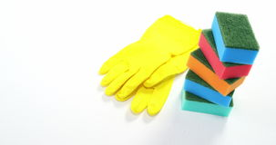 Cleaning sponge and gloves stock footage