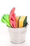 Cleaning sponges in a silver pail Royalty Free Stock Image