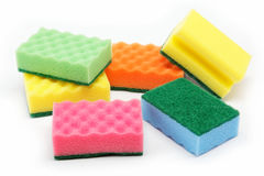 Cleaning sponges on a white. Royalty Free Stock Images