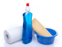 Cleaning spray with a roll of paper towels and a shammy Royalty Free Stock Photos
