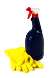 Cleaning spray and rubber gloves Stock Photo