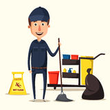 Cleaning staff character with equipment. Cartoon vector illustration. Royalty Free Stock Photos