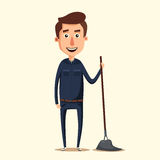 Cleaning staff character with equipment. Cartoon vector illustration. Stock Image