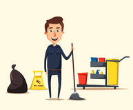 Cleaning staff character with equipment. Cartoon vector illustration. Royalty Free Stock Images