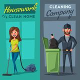 Cleaning staff character with equipment. Cartoon vector illustration. Royalty Free Stock Image