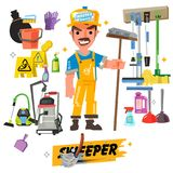 Cleaning staff characters with cleaning equipment come with typo. Graphic -  illustration Royalty Free Stock Photo